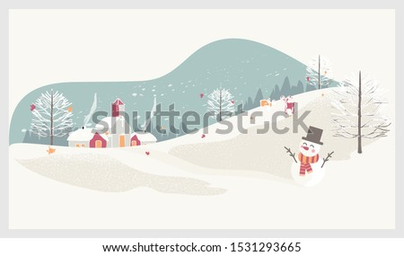 Vector illustration of a Christmas winter landscape postcard.Retro color of winter landscape with kids, snowman and deer.Minimal winter concept.