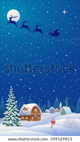 Vector illustration of a Christmas wonderland with a snowy night village and Santa sleigh silhouette,vertical design background