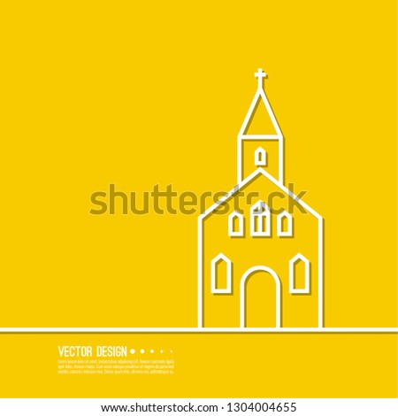 Vector illustration of a Church on a yellow background.