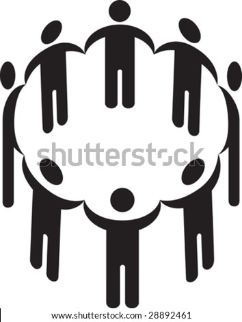stock vector : Vector illustration of a circle of people holding hands