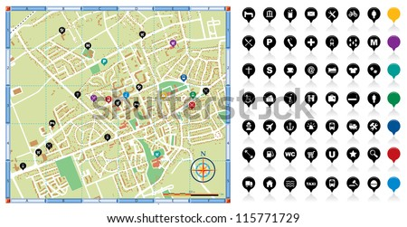 Vector illustration of a city map with points of interest. - stock vector