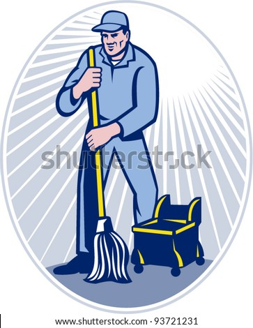 vector illustration of a cleaner janitor cleaning floor with mop viewed from front set inside ellipse done in retro woodcut style.