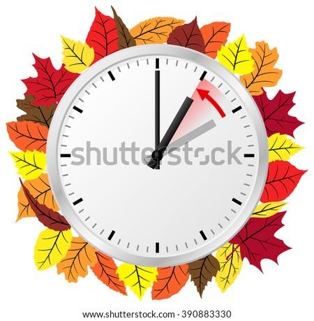 vector illustration of a clock return to standard timedaylight saving time ends Stock fotó ©