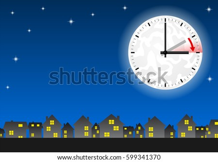 vector illustration of a clock switch to summer time  Stock fotó ©