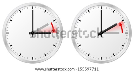 vector illustration of a clock switch to summer time and return to standard time Stock fotó ©