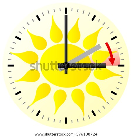 vector illustration of a clock switch to summer time daylight saving time begins Stock fotó ©