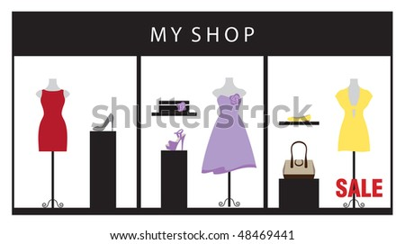 Vector illustration of a clothing store displaying beautiful dresses