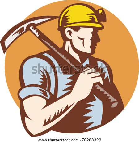 vector illustration of a Coal miner at work with pick ax done in retro woodcut style