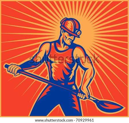vector illustration of a Coal miner worker at work with spade shovel front view  done in retro woodcut style with sunburst in background