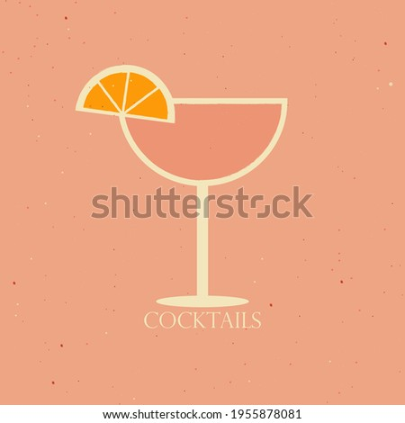 Vector illustration of a cocktail in a coupe glass with orange slice.  Photo stock ©