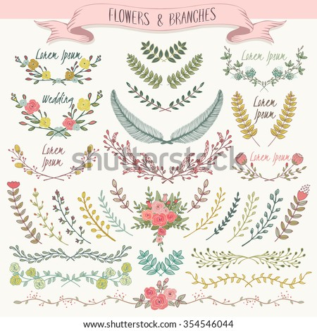 Vector illustration of a collection of floral borders. A set of beautiful flowers and branches for wedding invitations and birthday cards