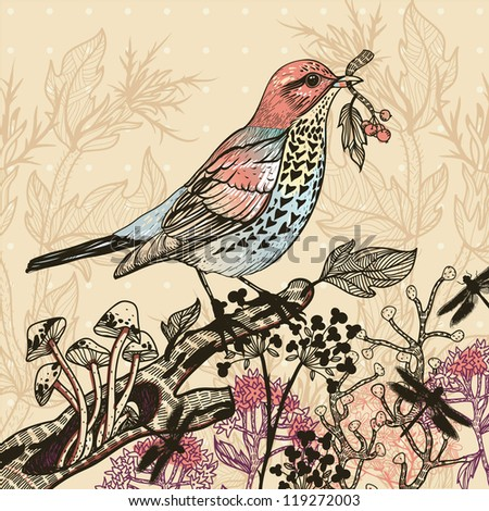 vector illustration of a colored bird and wild plants