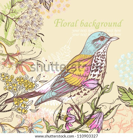 vector illustration of a colorful bird and blooming summer flowers