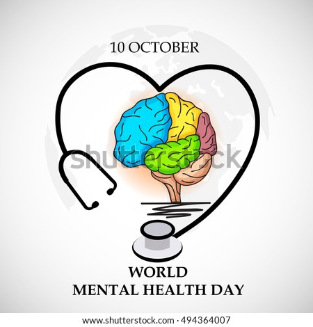 Vector illustration of a Colorful Brain with Stethoscope for World Mental Health Day.