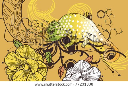Vector illustration of a colorful  chameleon and blooming flowers on an abstract background