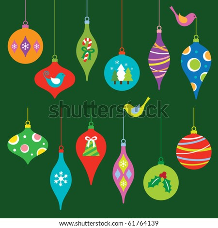 Vector illustration of a colorful Christmas ornaments collection.