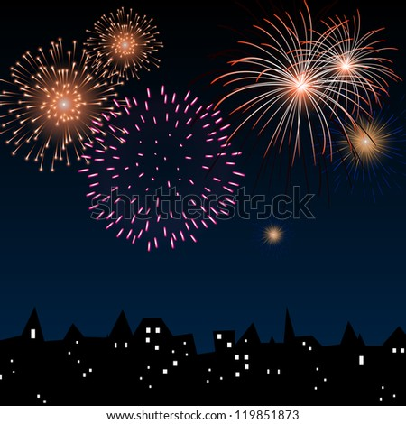 Vector Illustration of a Colorful Firework above the City