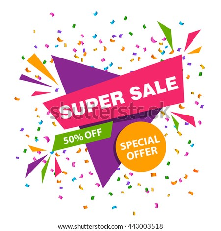 Vector Illustration of a Colorful Super Sale Banner Design Template