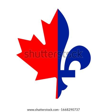 Vector illustration of a combination of Maple leaf and Fleur de lis halfs. French Canadians symbol. Good for web, event posters, badges, stickers, labels, t-shirt design. Stock fotó ©