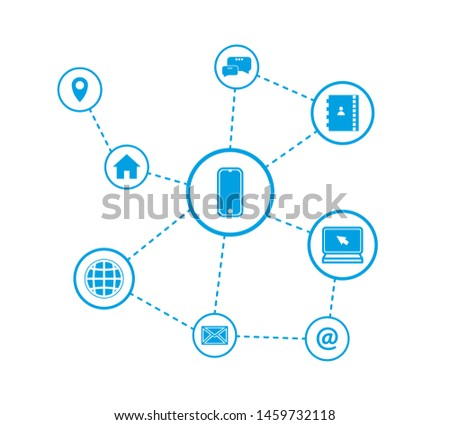 Vector illustration of a communication concept. COMMUNICATION ICONS. HOME, PC, PHONE, INTERNET COMMUNITY