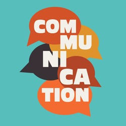 Vector illustration of a communication concept. The word