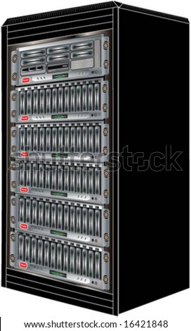 Vector Illustration of a Computer Server Cabinet