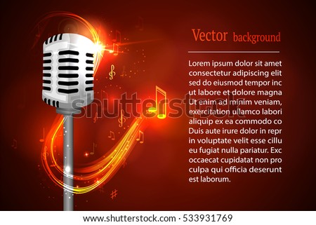 Vector illustration of a concept of karaoke, microphone, song, concert