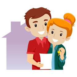 Vector Illustration of a Couple Bought a New House