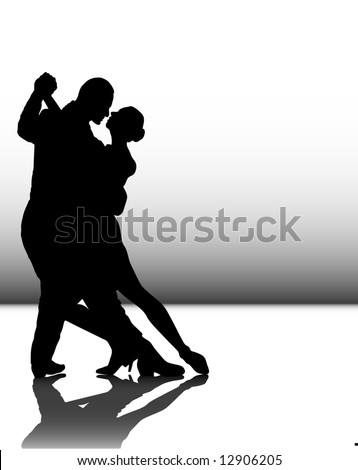 vector illustration of a couple dancing tango