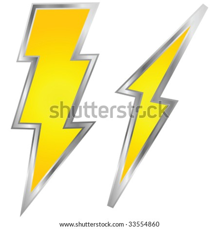 Vector illustration of a couple of lightning bolts, yellow with metallic border
