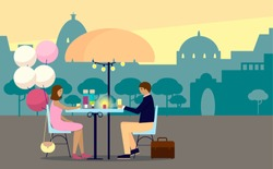 Vector illustration of a couple on a date with city on background