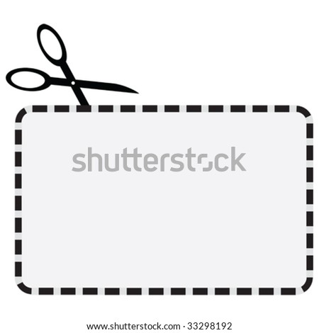 Vector illustration of a coupon with a dotted line for cutting