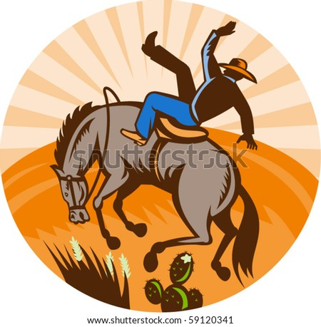 vector illustration of a cowboy falling off horse in the desert done in retro woodcut style.