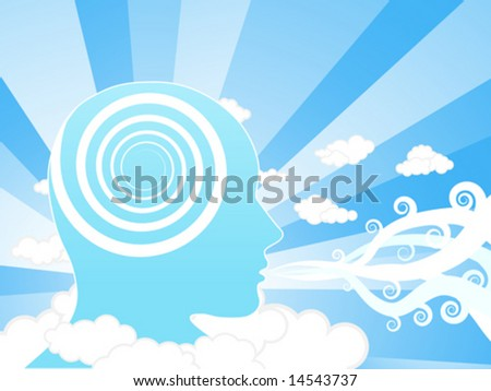 Vector illustration of a creative mind blowing winds in the sky. Education concept.