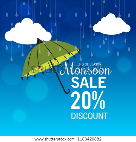 Vector illustration of a Creative Sale Banner for Monsoon Season With Colorful Umbrella,rain drop,Text Space Background.