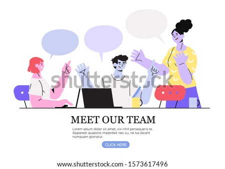 Vector illustration of a creative team on a business meeting discussing new project, generate ideas or having conversation. The concept of meet our team, about us or teambuilding for web design or ui.