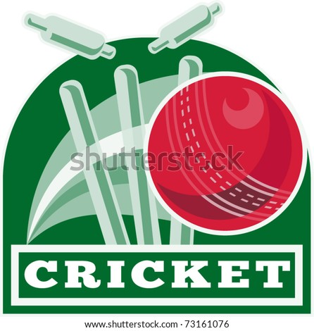 "vector illustration of a cricket ball hitting bowling over wicket with words ""cricket"""