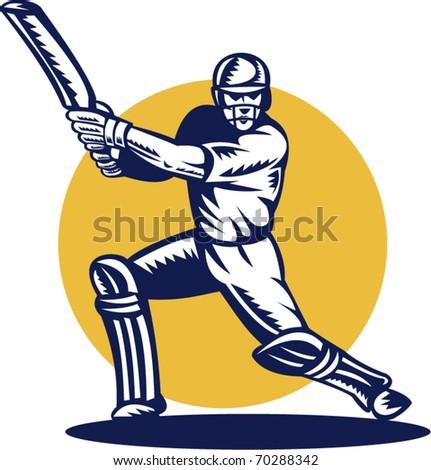 vector illustration of a cricket batsman batting front view