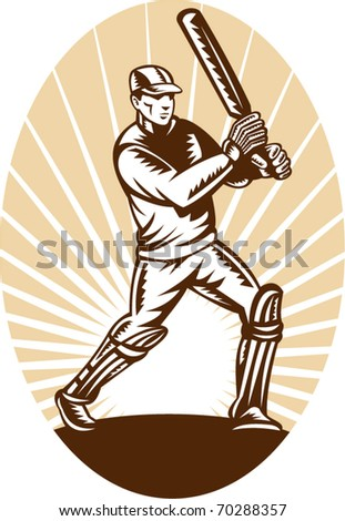 vector illustration of a cricket batsman batting front view woodcut style