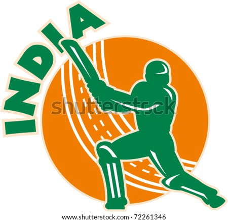 "vector illustration of a cricket batsman silhouette batting front view with ball in background done in retro style with words ""India"""