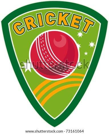 vector illustration of a cricket sport ball inside shield with stars and words \