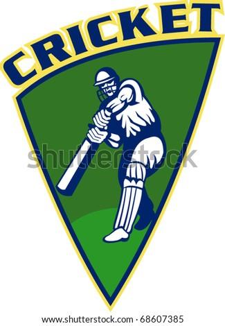 vector illustration of a cricket sports batsman  batting isolated on white set inside shield - stock vector