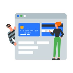 Vector illustration of a criminal stealing credit card information, online banking frauds