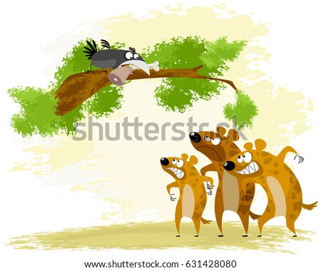 Vector illustration of a crow teases hyena