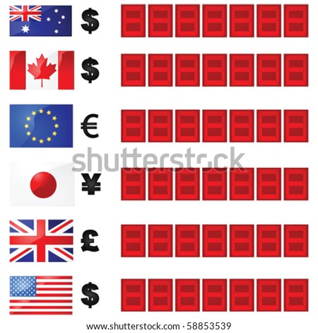 Vector illustration of a currency rate board, with six flags and currency symbols beside electronic number displays