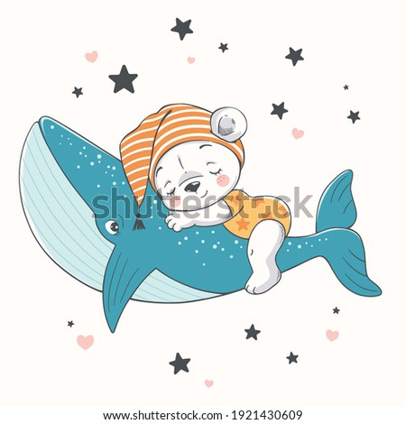 Vector illustration of a cute baby bear, sleeping on a whale among the stars.