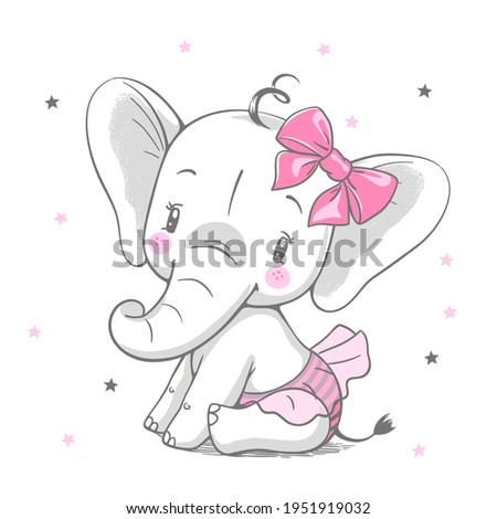 Vector illustration of a cute baby elephant girl with pink bow and skirt.