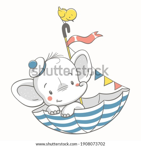 Vector illustration of a cute baby elephant sailor in a striped umbrella.