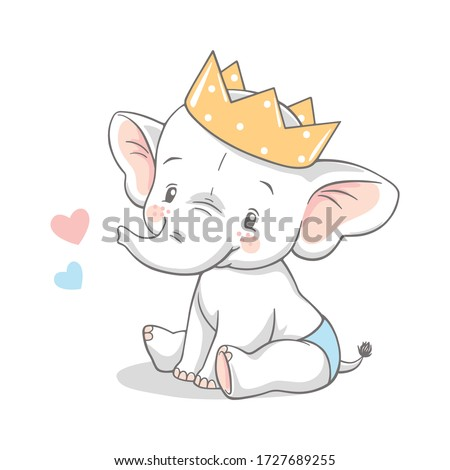 Vector illustration of a cute baby elephant with crown.