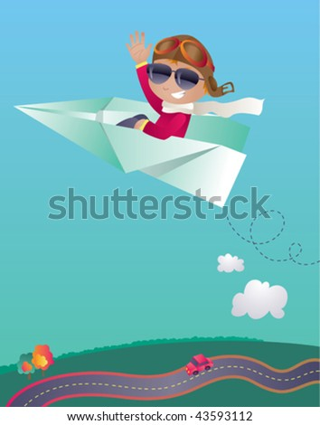Vector illustration of a cute boy flying  a giant paper plane. Goggles and sunglasses are in different layers... maybe just one pair of eye-wear is enough? :-)